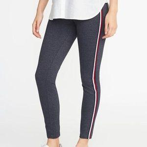 High-Waisted Side-Stripe Textured Ponte Pants
